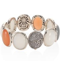 John Hardy - Bamboo Diamond Pave & Multicolor Moonstone Bracelet - Lyst