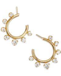 Zoe Chicco - Diamond & 14k Yellow Gold Hoop Earrings - Lyst