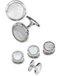 Jan Leslie 6-piece Sterling Silver & Round Mother-of-pearl Cufflink & Shirt Stud Set - Metallic