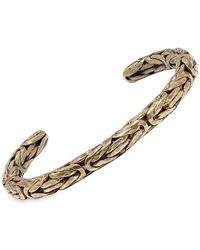 John Varvatos Braid Brass Open Cuff Bracelet - Metallic