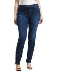 Marina Rinaldi - Dark Navy Side Stripe Stretch Jeans - Lyst