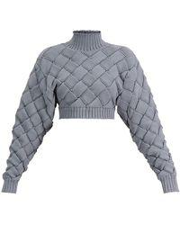 Hervé Léger Chunky Woven Crop Sweater - Gray