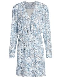Parker Athens Botanical Print Silk Dress - Blue