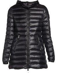 Moncler Menthe Giubbotto Hooded Drawstring Puffer Coat - Black