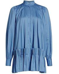 Aje. Pavillon Pleated Mini Dress - Blue