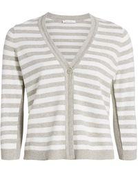 Joan Vass Petite Stripe Cotton Cardigan - Gray