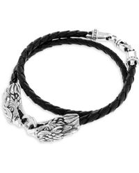 King Baby Studio - Sterling Silver Leather Double Eagle Braided Bracelet - Lyst