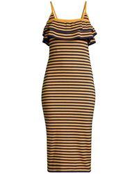 Victor Glemaud Striped Ruffle Midi Dress - Multicolor