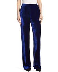 St. John - Silk Velvet Trousers - Lyst