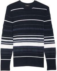 Theory Men's Hills Stripe Cashmere Sweater - Blue