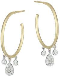 Meira T 14k Yellow Gold, 14k White Gold & Diamond Hoop Earrings - Metallic