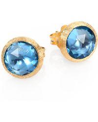 Marco Bicego - Jaipur Blue Topaz & 18k Yellow Gold Stud Earrings - Lyst