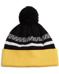 bb869280023 Fendi - Men s Ff Stripe Knit Pom Pom Wool Beanie - Black Yellow - Lyst