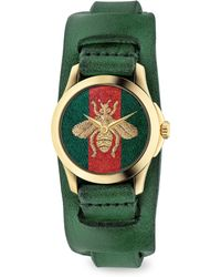 Gucci - G-timeless Embroidered Bee Goldtone Stainless Steel & Leather Watch - Lyst