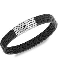 John Hardy Chain Collection Engraved Sterling Silver & Leather Bracelet - Black