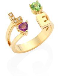 Delfina Delettrez - Love Diamond, Peridot, Amethyst & 18k Yellow Gold Ring - Lyst