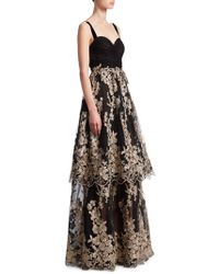 David Meister - Sleeveless Tulle Gown W/ Metallic Embroidered Skirt - Lyst