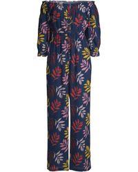 Carolina K Alexa Cotton Crepe Jumpsuit - Blue