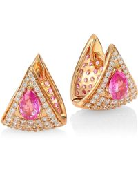 Hueb - Spectrum Pink Sapphire, White Diamond & 18k Rose Gold Stud Earrings - Lyst