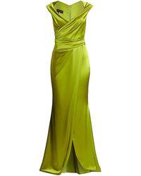 Talbot Runhof Wrap Crepe Satin Gown - Green
