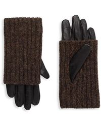 Carolina Amato Touch Tech Leather & Knit Gloves - Brown