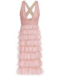 J. Mendel Embellished Silk Cocktail Dress - Pink