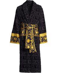 Versace Logo Toweling Baroque Bathrobe - Black