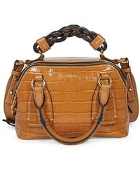 Chloé Small Daria Croc-embossed Leather Satchel - Brown
