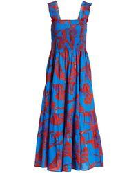 Figue Luella Crane Print Midi Dress - Blue