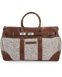 Brunello Cucinelli Chevron Virgin Wool & Leather Travel Bag - Brown