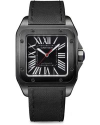 Cartier - Santos 100 Stainless Steel, Adlc & Leather Strap Watch - Lyst