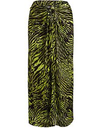 Ganni Knotted Tiger-print Silk-blend Midi Skirt - Green