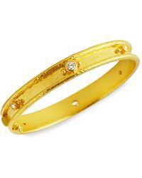 Elizabeth Locke Stone Hammered 19k Yellow Gold & Diamond Flat Thin Bangle - Metallic
