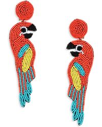 Kenneth Jay Lane - Multicolor Coral Seed Bead Parrot Clip-on Earrings - Lyst