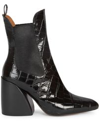 90e4a30b4 Chloé - Women s Croc-embossed Leather Chelsea Booties - Black - Lyst