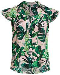 Alice + Olivia Randa Tropical Ruffle-sleeve Blouse - Green