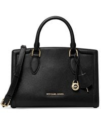 Michael Kors Zoe Medium Pebbled Leather Satchel - Black