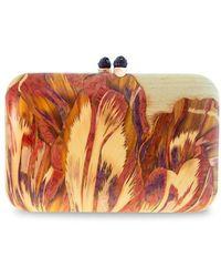 Silvia Furmanovich Marquetry Floral Wood Box Clutch - Multicolor
