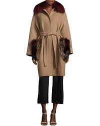 AQUILANO.RIMONDI Fox Fur & Virgin Wool Wrap Coat