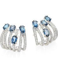 Hueb - Rainbow Diamond, London Blue Topaz & 18k White Gold Ear Cuffs - Lyst
