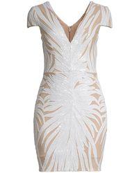 Dress the Population Zoe Cap-sleeve Sheath Dress - White