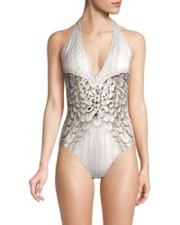 Gottex Embellished Couture Swimsuit - Gray