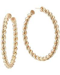 Lana Jewelry Casino Thin Braided Hoop Earrings - Metallic