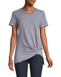Stateside - Women's Knotted Striped Tee - White Blue - Size Large - Lyst