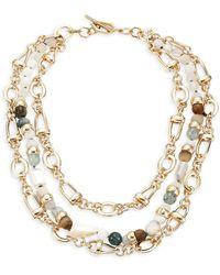 Akola Multi Gemstone Statement Necklace - Metallic