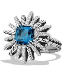 David Yurman - Starburst Ring With Diamonds In Silver, 23mm - Lyst