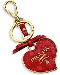 Prada - Saffiano Leather Heart Keychain - Lyst
