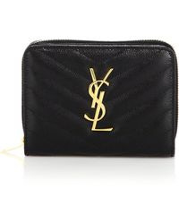 Saint Laurent - 'large Monogram' Quilted Leather Wallet On A Chain - Lyst