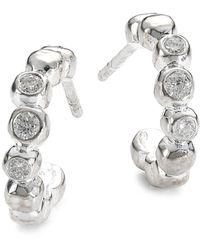 Ippolita Stardust Mini Sterling Silver & Diamond Hoop Earrings - Metallic