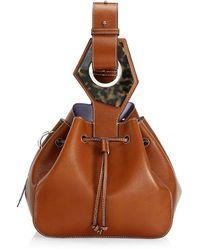 Ganni Small Leather Bucket Bag - Brown